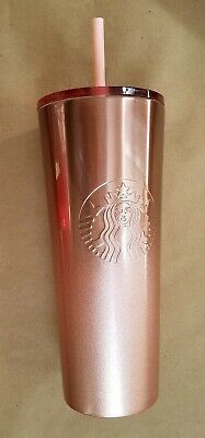 Starbucks 2019 Glitter Rose Gold Holiday Cold Cup Stainless Steel Tumbler NEW