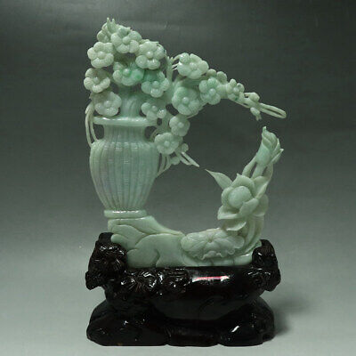 Chinese Exquisite Hand-carved flower Carving jadeite jade statue