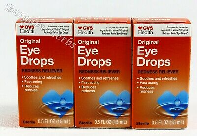 3x CVS Original Eye Drops Lubricant & Redness Reliever 0.5 FL OZ Exp 03/21