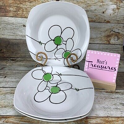 Gibson Designs DAISY DOT Square Stoneware Green Floral Soup Cereal Bowls Set 3