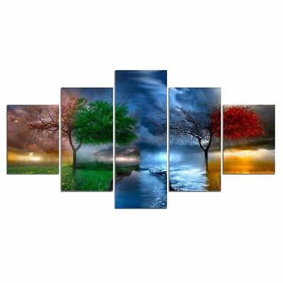 Print Framed Canvas Four Seasons Trees 5 Pieces Wall Art Decor Ready to Hang