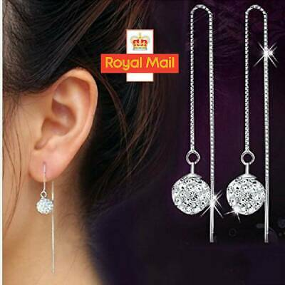 925 Sterling Silver Plated Long Chain Ball Crystal Bead Dangle Drop Earrings UK