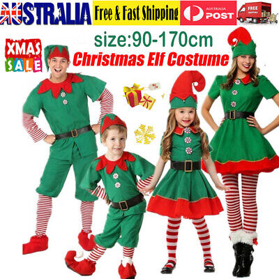 Adult & Kids Elf Costume Suit Cute Santa's Little Helper Christmas Fancy Dress