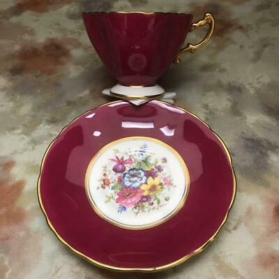 HAMMERSLEY Burgundy Hand-painted Bouquet Cup D9.9*H9.6cm & Saucer D14.7cm NO BOX