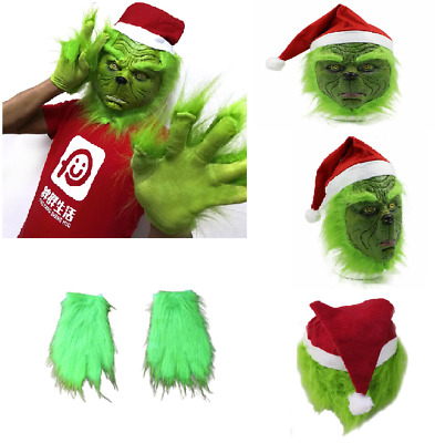 The Grinch Stole Mask W/ Christmas Hat + Glove Party Prop Xmas Cosplay Costume