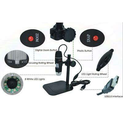 8LED USB Portable Digital Microscope Endoscope Magnifier Camera with Stand