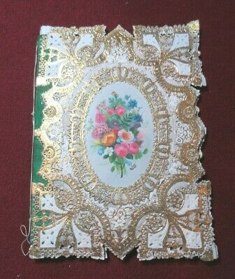 ORNATE ANTIQUE BIRTHDAY  GREETINGS CARD LATE 1800's PADDED SACHET SILK FLORAL