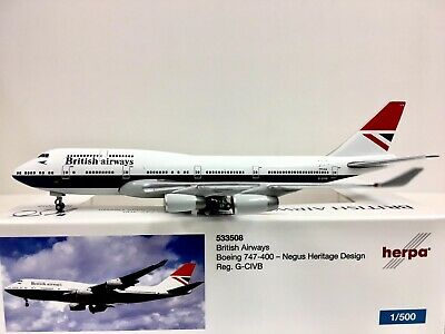 100th Anniversary boa Herpa Wings 1:500 533317 british airways boeing 747-400
