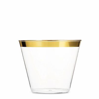 100 Gold Plastic Cups 9 Oz Clear Plastic Cups Old Fashioned Tumblers Gold Rimmed
