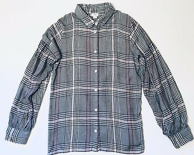 River Island Girls Top Age 11-12 Years Grey And Pink Long Sleeve Checked Shirt