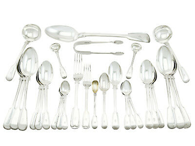 Antique Sterling Silver Canteen of Cutlery for Ten Persons by George Adams