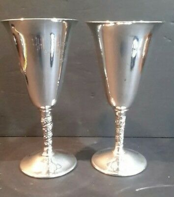 Vintage FB Rogers Silverplate Chalice Goblet Made in Italy x 2