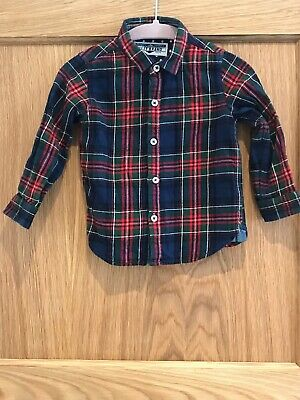 Boys Next Tartan Check Brushed Cotton Long Sleeve Christmas Shirt 12-18 Months