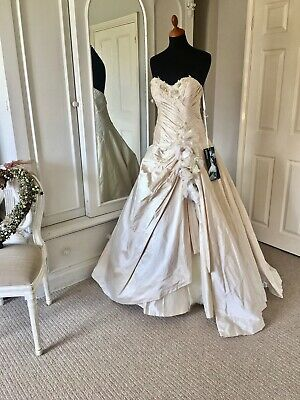 Couture Wedding Dress by Terry Fox, Truth Beauty Freedom Love, Dark Ivory, 10-12