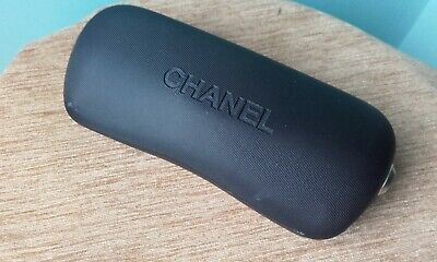 Chanel Used Sun / Eye / Glasses Case Black Hinged - Pink Cloth - C Studs