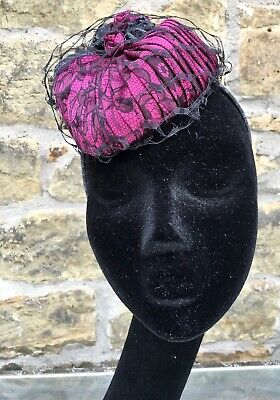 Moulin Rouge Couture Cocktail Hat by Margaret Woodliff Wright, Cerise / Slate