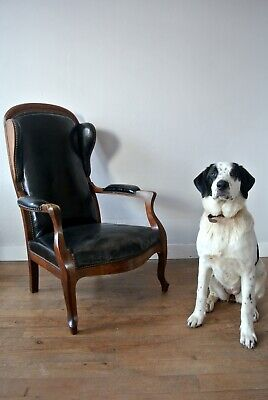 Antique French Louis Philippe Black Leather And Walnut Gentleman's Armchair 1840