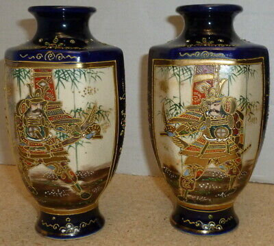 Pair Antique Japanese Satsuma Vases