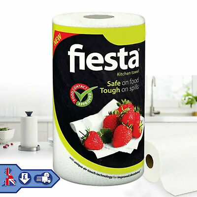 Kitchen Towel Paper Roll 1 / 6 / 12 Fiesta White Paper Rolls Tough on Spills