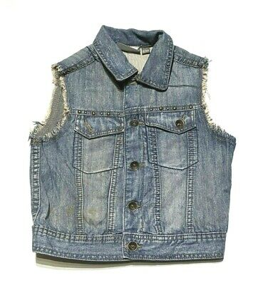 Girls age 5 - 6 denim jean jacket waistcoat punk biker styl sleevless coat (w29)