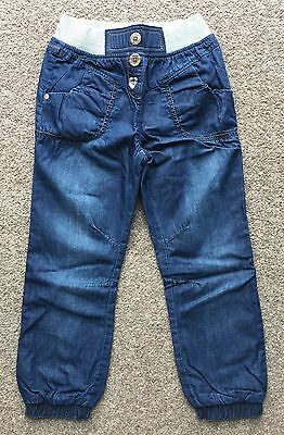 Bnwt Next Dark Soft Lined Denim Trousers Size 5-6 Years