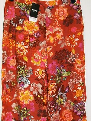 Next Printed Floral Culottes brown loose cropped trousers Size 12 New Tags BNWT