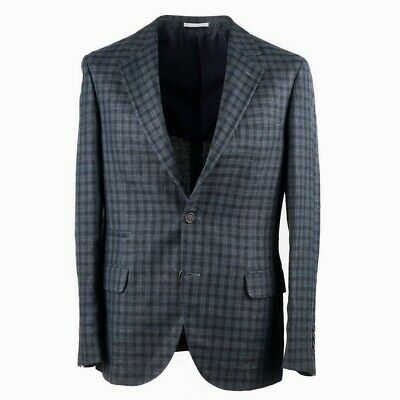 NWT $3495 BRUNELLO CUCINELLI Green Check Wool-Linen-Silk Sport Coat Slim 42 R