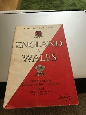 Rugby Programme England v Wales 1954