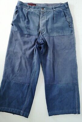 VTG 1950s French Faded Patched Blue Cotton Work Trousers Workwear Chore