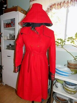 VINTAGE GIRLS SZ 12 (WOMENS XS) RED WOOL WINTER COAT W HOOD by THE PHILADELPHIAN