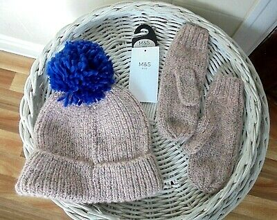 Marks And Spencer Girls Hat & Mittens Set 6-10 years Pink Mix Original Price £9