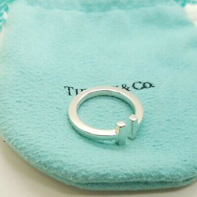 "Tiffany & Co. 925 Sterling Silver ""T"" Square Ring Band Size 7 with Pouch"