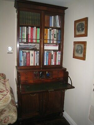 Antique Mahogany Secretaire Bureau Bookcase 19th Century