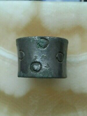 Ancient Viking old copper ring with an ornament  rarity 12-13 century.