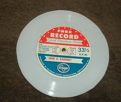 Vintage John F. Kennedy Record~Kroger Giveaway~Great President Series~33 1/3~JFK