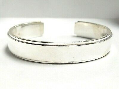 Tiffany & Co. 925 Metropolis Sterling Silver Wide Cuff Bracelet Bangle