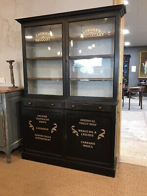 Antique Black Painted Glazed Bookcase Wth Later Lettering FREE DELIVERY WITH BIN