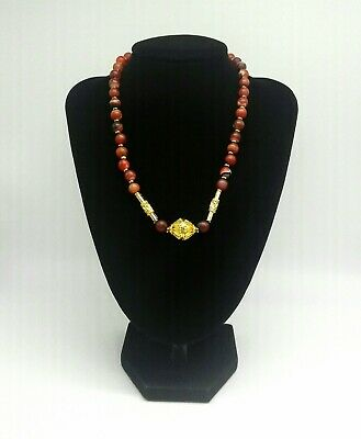 Natural Matt Polished Banded Agate and Gold Tone Bead Necklace