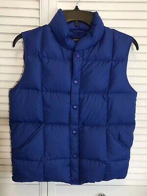 Lands End Kids Boys Girls Down Puffy Vest Size M 10-12 Royal Blue Outdoor