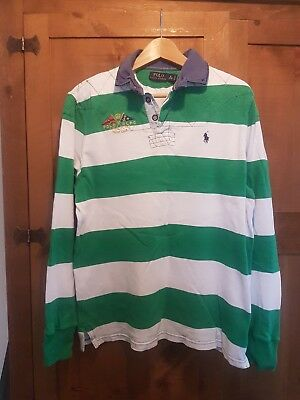 Polo Ralph Lauren Custom fit Stripe Rugby shirt mens (M)