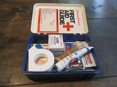 Vintage Johnson & Johnson First Aid Kit Red Cross Plastic Box c1979 w/ contents