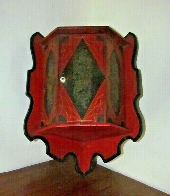"""Interesting Antique Hand Painted Corner Wall Cabinet with Shelf ~ apx 24"""" tall"""