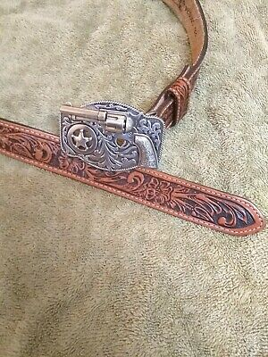 Justin 26 Inch Leather Belt With Revolver Buckle