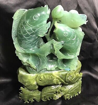 "CHINESE JADE  HAND CARVED FISH DESIGN ON BASE , 9"" tall"