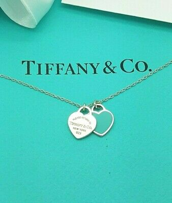 "Return to Tiffany & Co. Enamel Double Mini Hearts Pendant Necklace 16"" in Silver"