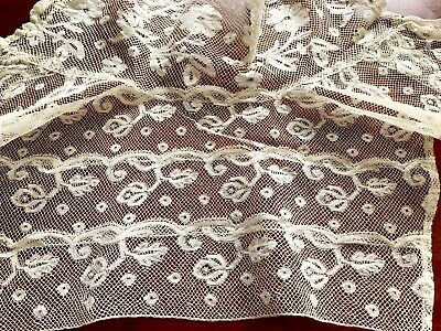 Antique Off White Needle Work Lace Edwardian High Neck Collar