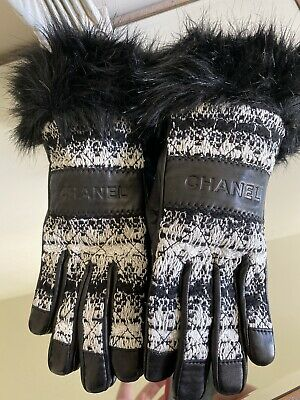 Chanel Gloves Lambskin Tweed Black And White Size 7.5 Brand New