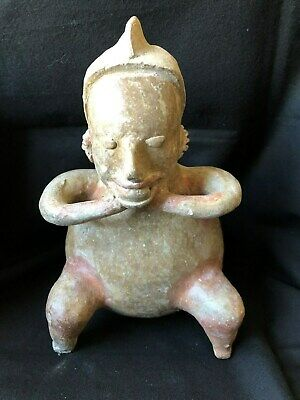 Pre-Columbian Jalisco Polychrome Seated Hunchback Figure, 100 BC - 250 AD  NICE!