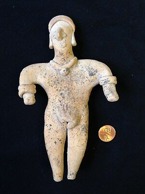 Pre-Columbian Colima Standing Female Flat Figure 200 BC - 250 AD, solid clay.