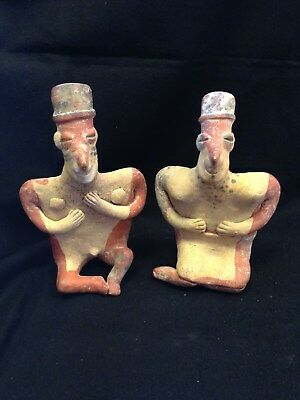 Pre-Columbian Jalisco, Mexico, Seated Male and Female Figures, 100 BC - 250 AD